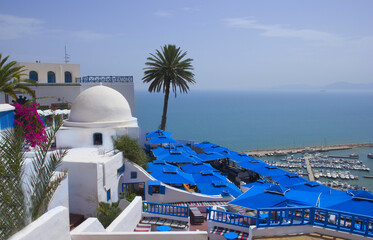 Beautiful scenery in the town of Sidi Bou Said
