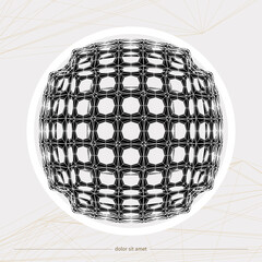 3d spherical object. Abstract geometric object. Vector illustration.