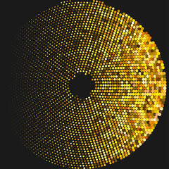 Circle with dots for Design Project. Halftone effect vector illustration. Colorful dots on white background. Golden background. Round frame design template.