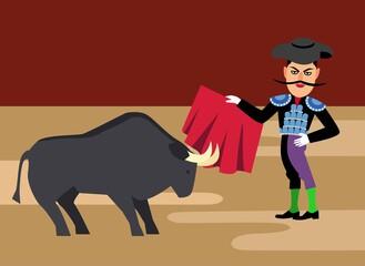 spanish matador cartoon clipart. Bullfighting vector illustration. Toreador man in red cape. Traditional spainish corrida.
