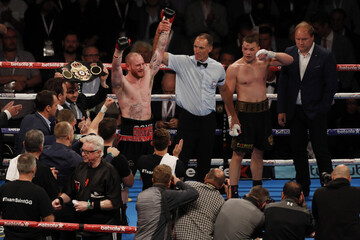 George Groves celebrates after victory over Fedor Chudinov to become world champion