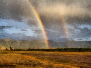 illustration of double rainbow after the rain in the mountains