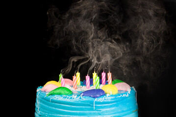 Birthday cake candle smoke