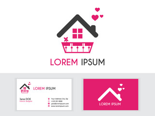 House Logo, Sweet Home Logo, Love Building Vector Logo Template