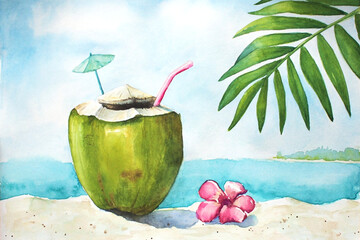 Watercolor tropical landscape with sand, ocean, coconut and palm leaf
