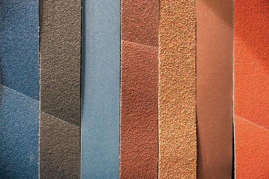 Multicolored abrasive tape.