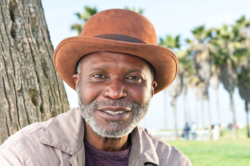 Elderly black man smiling
