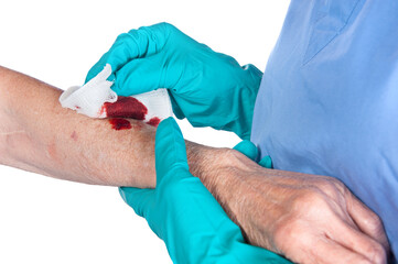 Nurse caring for wound