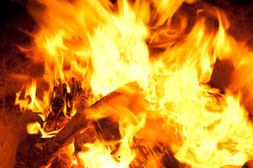 Poster de jardin Texture de bois de chauffage Burning wood
