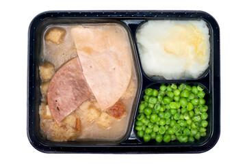 Ham and turkey TV dinner