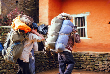 Nepalese porters  on a trek