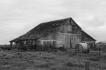 Old Barn and Hay Bale in B&W