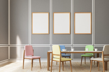 Three poster dining room, chairs