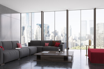 Panoramic living room gray and red