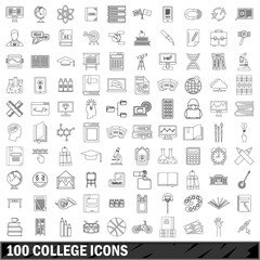 100 college icons set, outline style