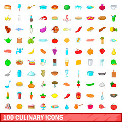 100 culinary icons set, cartoon style