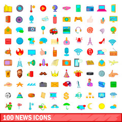 100 news icons set, cartoon style