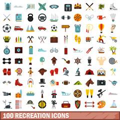 100 recreation icons set, flat style