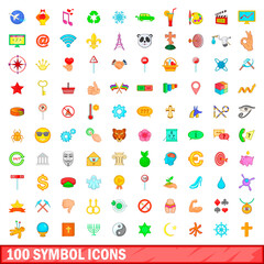 100 symbol icons set, cartoon style