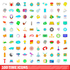100 time icons set, cartoon style