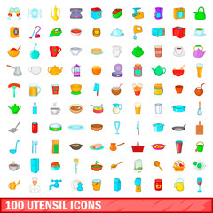100 utensil icons set, cartoon style