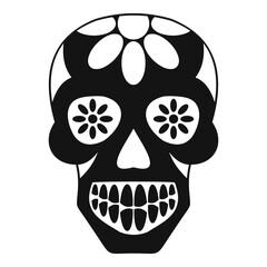 Sugar skull, flowers on the skull icon simple