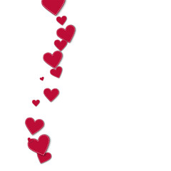 Red stitched paper hearts. Left wave on white background. Vector illustration.