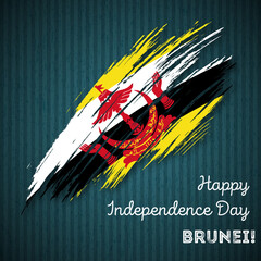 Brunei Independence Day Patriotic Design. Expressive Brush Stroke in National Flag Colors on dark striped background. Happy Independence Day Brunei Vector Greeting Card.