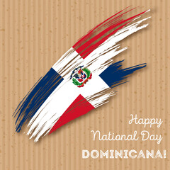 Dominicana Independence Day Patriotic Design. Expressive Brush Stroke in National Flag Colors on kraft paper background. Happy Independence Day Dominicana Vector Greeting Card.