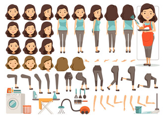 Housewife character creation set.Icons with different types of faces and hair style, emotions,front,rear,side view of female person.Moving arms,legs.Vector illustration Isolated on white background