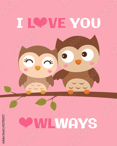 cute owl illustration for valentine s day card template stock image