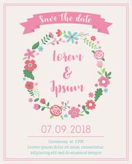 Cute floral border illustration for wedding card design template