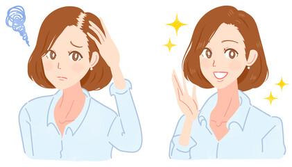 薄毛に悩むミドル女性のイラスト