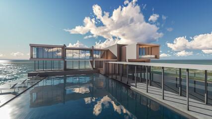 3d Rendering Swimming Pool Villa Terrace