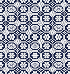 Seamless Blue Chinese Background retro octagon check cross frame flower