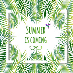Summer is coming  card. Jungle background. Tropical background.  Vector illustration.