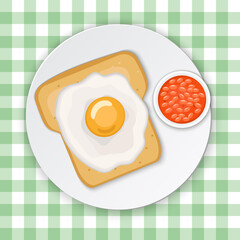 Toast with eggs and beans. Breakfast vector illustration