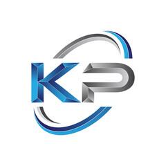 Simple initial letter logo modern swoosh KP