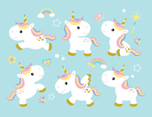 Custom vertical slats with your photo Vector illustration of cute unicorns.