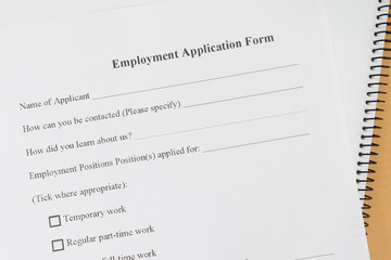 Close - up Blank employment application paper form