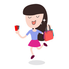 Happy women Shopping With her credit card and shopping bag in the department store or general store.
