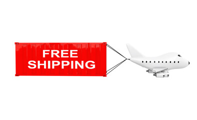 Cartoon Toy Jet Airplane Carry Cargo Container with Free Shipping Sign. 3d Rendering