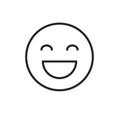 Smiling Cartoon Face Positive People Emotion Icon Vector Illustration