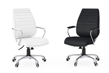 Black and White Leather Boss Office Chairs. 3d Rendering