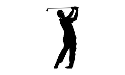 Golf Player & Silhouette Logo Template