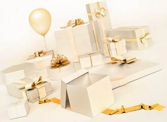 White gifts boxes with golden bows, balloon isolated on white background.