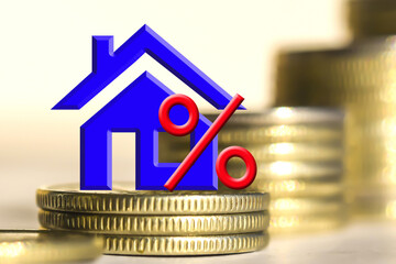 The percent symbol and real estate on a background of money . The concept of price changes on the real estate market