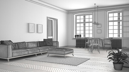 Unfinished project of minimalist living room, sketch abstract interior design