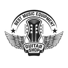 Guitar shop label template. Guitar head with wings. Design elements for poster, logo, label, emblem, sign. Vector illustration