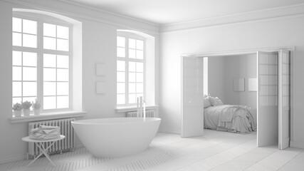 Total white scandinavian bathroom with bedroom in the background, minimalist interior design